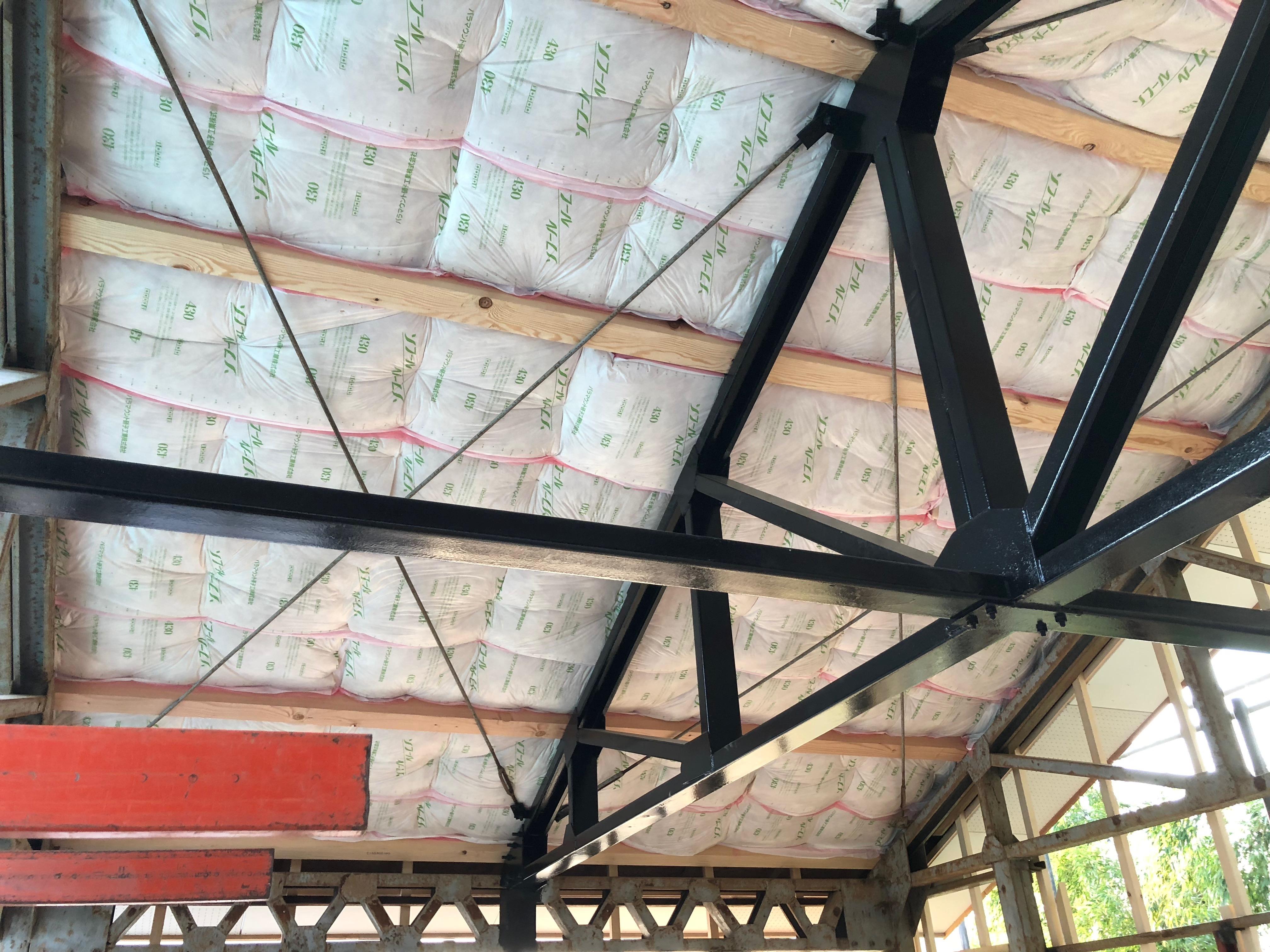 壁天井工事01 -2階天井断熱材を入れる。タケノコが出てきた-